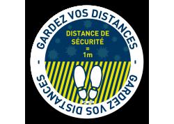 Adhésif rond marquage zone espace d'attente COVID19